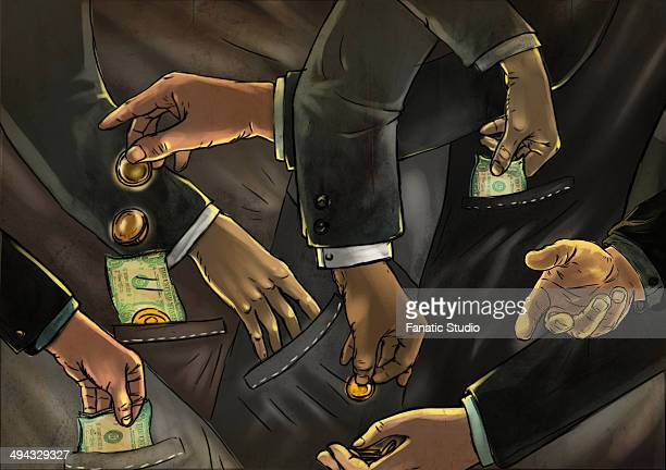 illustrative image of business people exchanging money representing fraud - bribing stock illustrations