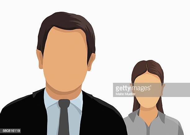 illustrative image of business people over white background - front view stock illustrations