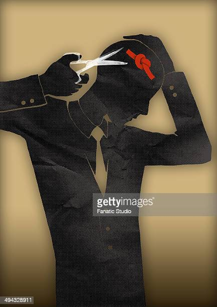 illustrations, cliparts, dessins animés et icônes de illustrative image of businessman attempting to cut knot rope representing conquering adversity - sado maso