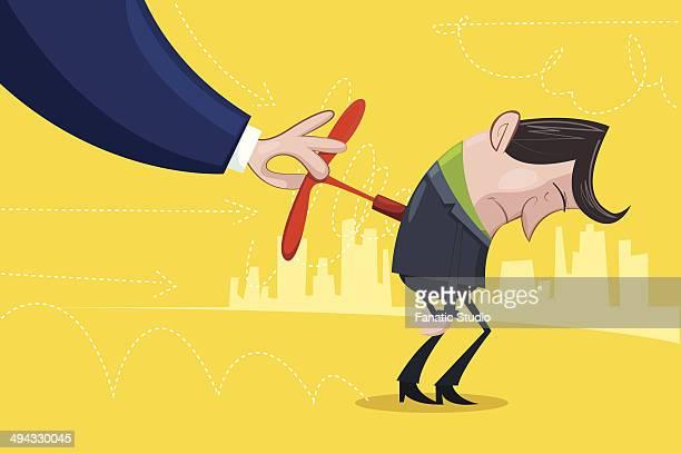 Illustrative image of businessman charging his subordinate representing motivation