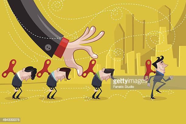 Illustrative image of businessman charging his subordinates representing motivation