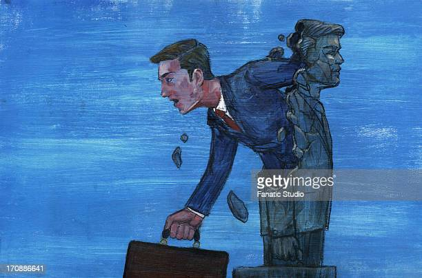 illustrations, cliparts, dessins animés et icônes de illustrative image of businessman coming out from statue representing freedom from rules - sado maso