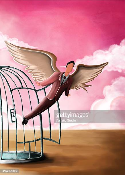 illustrative image of businessman flying out from cage representing freedom - animal limb stock illustrations, clip art, cartoons, & icons