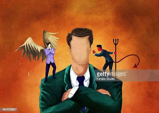 ilustraciones, imágenes clip art, dibujos animados e iconos de stock de illustrative image of businessman getting advice from an angel and a devil - foto de estudio