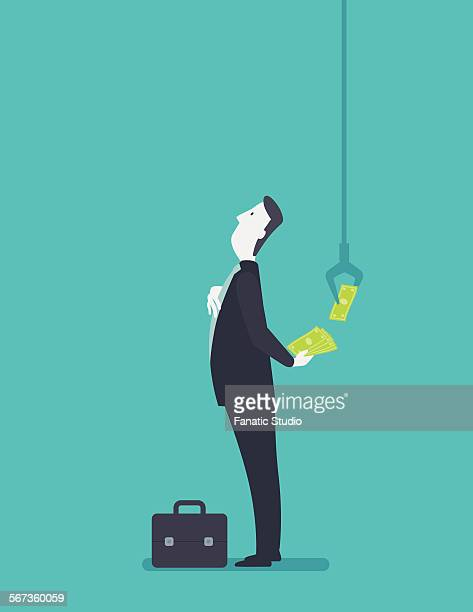 illustrative image of businessman giving bribe - corporate theft stock illustrations
