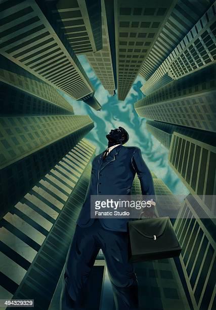 ilustraciones, imágenes clip art, dibujos animados e iconos de stock de illustrative image of businessman looking at tall building representing aim - vista de ángulo bajo