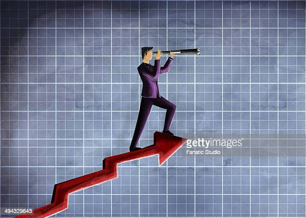 Illustrative image of businessman looking through telescope on arrow representing forecast