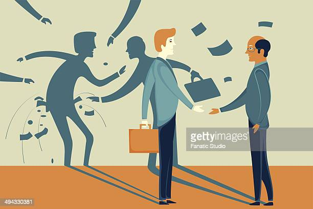 illustrative image of businessman misleading colleague representing fraud - bribing stock illustrations