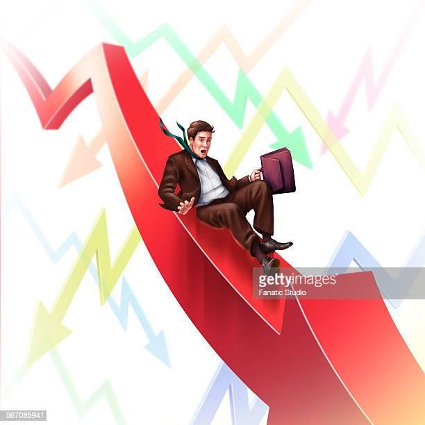 Illustrative image of businessman on a downward slide