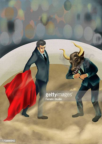 illustrative image of businessman showing red cloth to bull - bullfight stock illustrations, clip art, cartoons, & icons