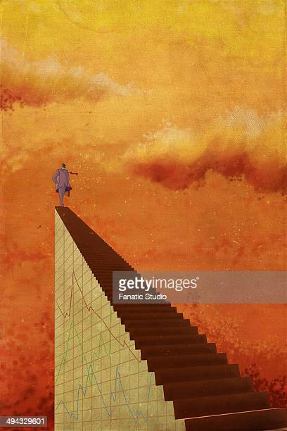 illustrative image of businessman standing on staircase representing growth in stock market - legal document stock illustrations, clip art, cartoons, & icons