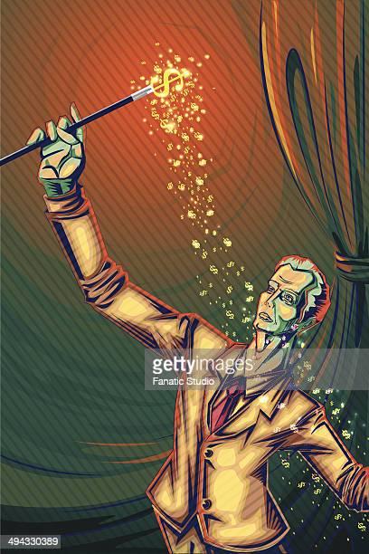 illustrative image of businessman using magic wand representing prosperity - cash flow stock illustrations, clip art, cartoons, & icons