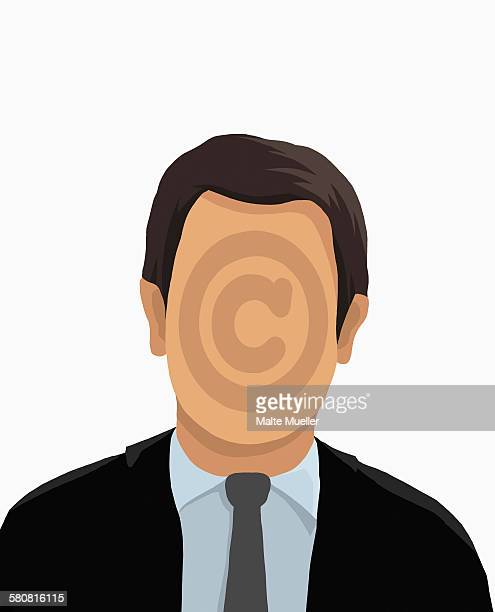 illustrative image of businessman with copyright symbol on face against white background - the alphabet stock illustrations