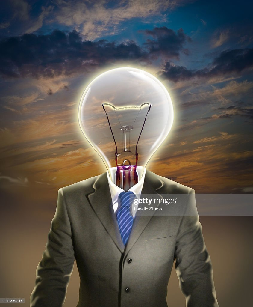 Illustrative image of businessman with light bulb representing leadership : stock illustration