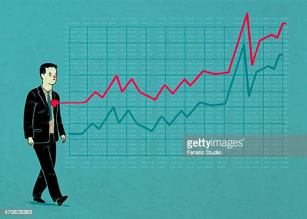 illustrative image of businessman with line graph representing ups and downs - digital composite stock illustrations