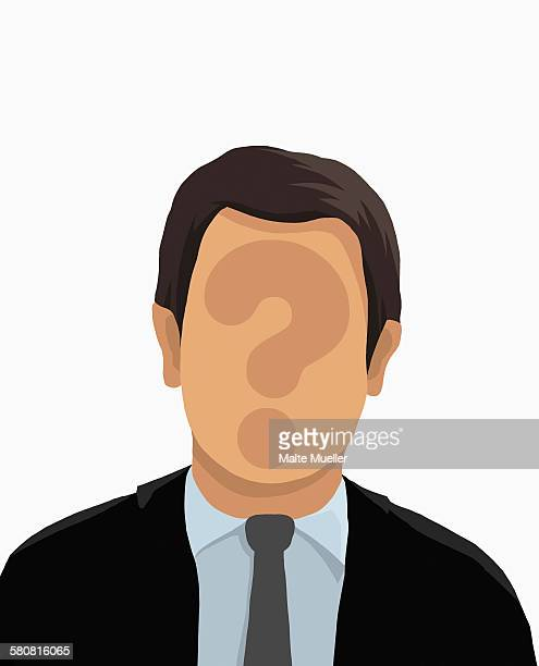 illustrative image of businessman with question mark on face over white background - headshot stock illustrations