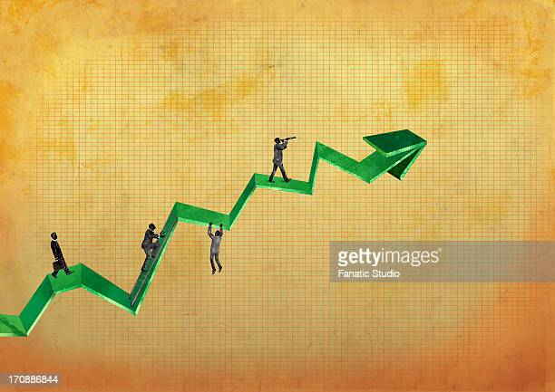 illustrative image of businessmen walking on a line graph representing business growth - struggle stock illustrations
