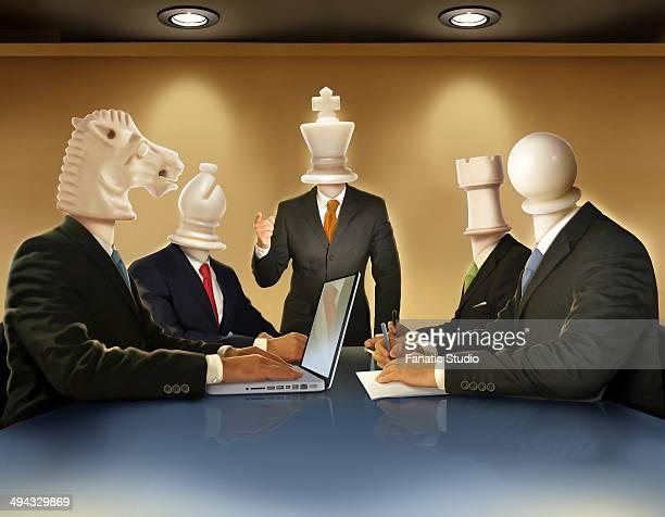 ilustraciones, imágenes clip art, dibujos animados e iconos de stock de illustrative image of businesspeople in meeting representing business strategy - torre pieza de ajedrez