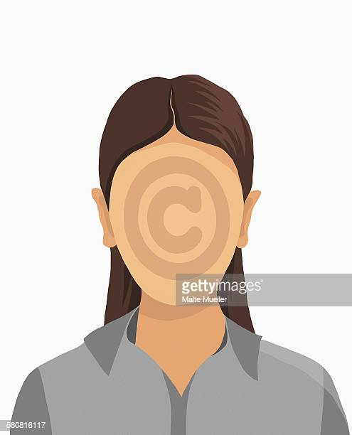 illustrative image of businesswoman with copyright symbol on face against white background - the alphabet stock illustrations