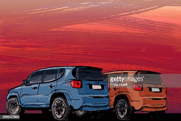 illustrative image of cars on field during sunset - sunset stock illustrations