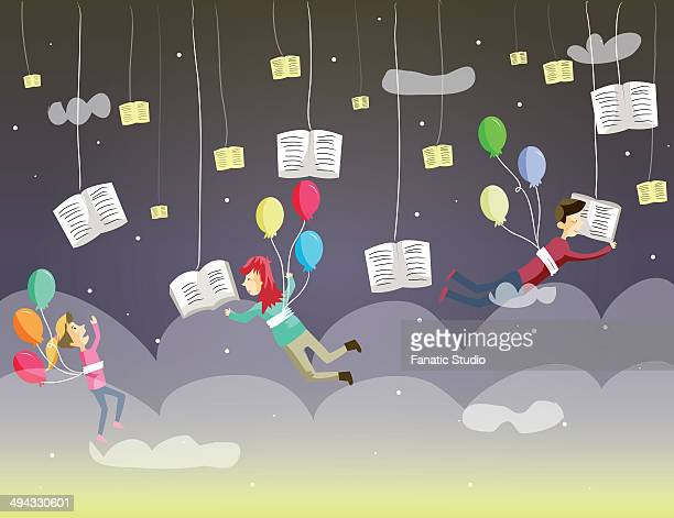 Illustrative image of children reading books while hanging in clouds representing World Book Day