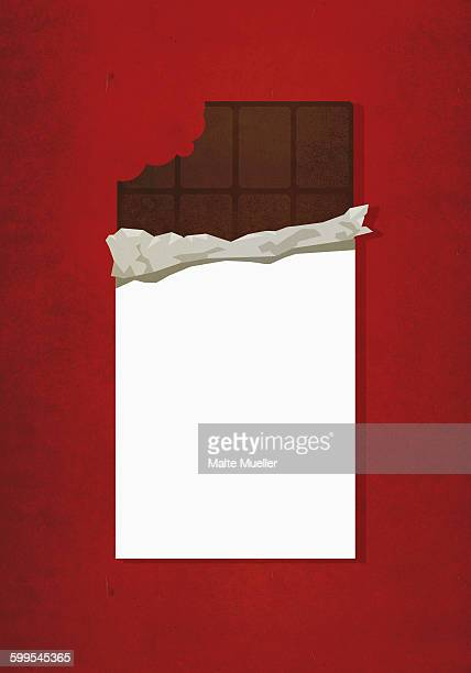 Illustrative image of chocolate bar with missing bite against red background