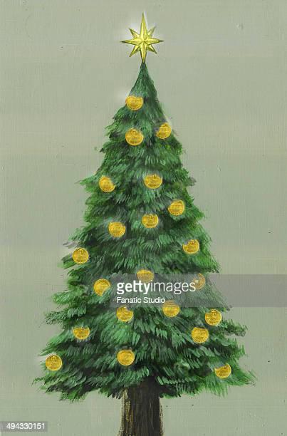 ilustraciones, imágenes clip art, dibujos animados e iconos de stock de illustrative image of christmas tree decorated with gold coins representing profit - charity benefit