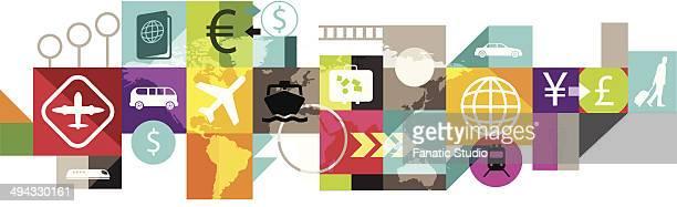 ilustraciones, imágenes clip art, dibujos animados e iconos de stock de illustrative image of collage representing travel - patchwork