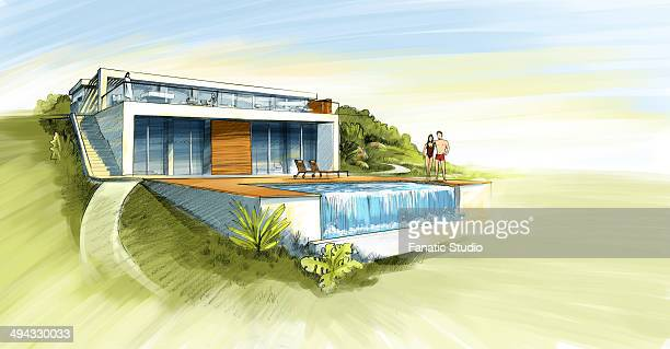 illustrative image of couple in front of their dream home - bungalow stock illustrations, clip art, cartoons, & icons