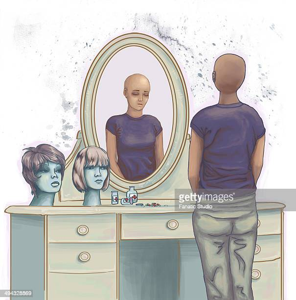 illustrative image of dejected cancer woman standing in front of dressing table - balding stock illustrations, clip art, cartoons, & icons