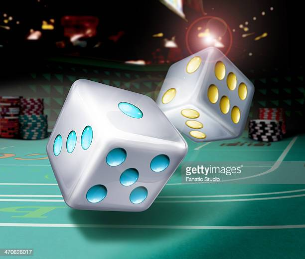 illustrative image of dices thrown on table representing gambling - gambling table stock illustrations
