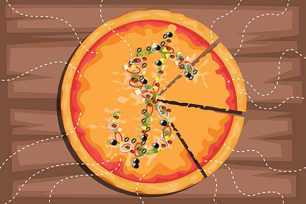 Illustrative image of dollar sign on pizza with pieces representing profit share