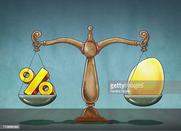 ilustraciones, imágenes clip art, dibujos animados e iconos de stock de illustrative image of egg and percentage sign on weighing scale - charity benefit