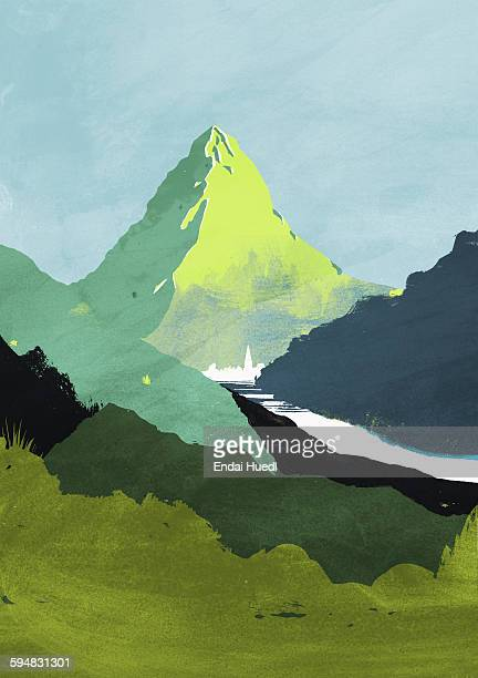 illustrative image of field and mountain against sky - artistic product stock illustrations
