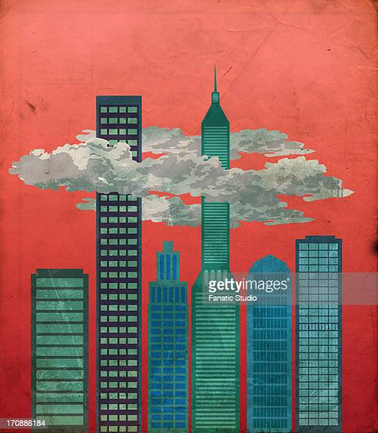 illustrative image of financial district - spire stock illustrations, clip art, cartoons, & icons