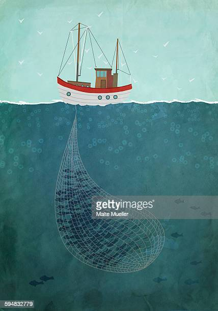 Illustrative image of fishing trawler on sea