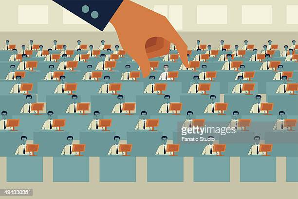 illustrative image of hand picking up businessman representing cost cutting and recruitment - job interview stock illustrations, clip art, cartoons, & icons