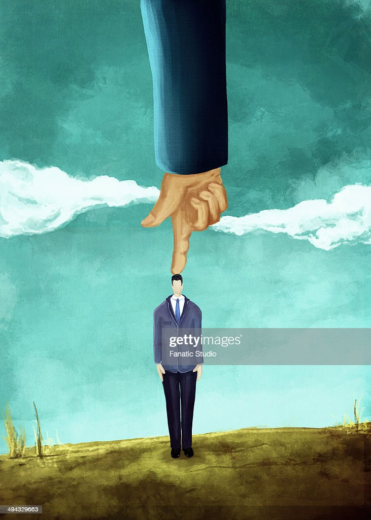 Illustrative image of hand pointing on businessman's head representing domination : stock illustration