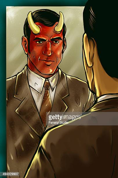 Illustrative image of horned businessman looking in mirror