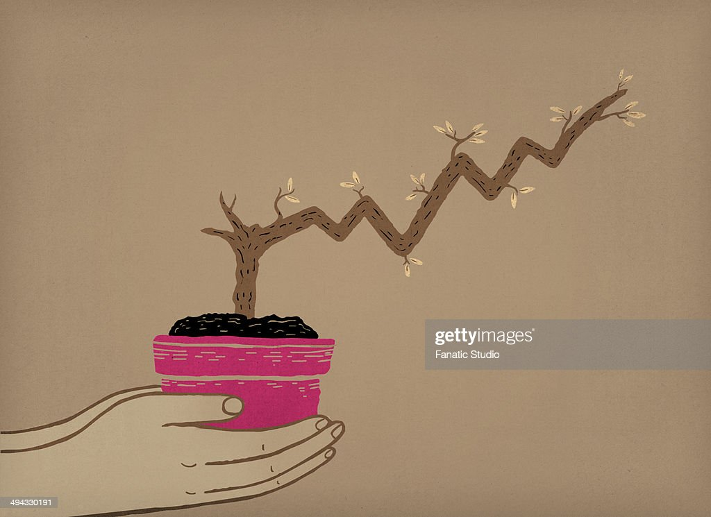 Illustrative image of human hands holding potted plant with stem grows like a stock chart representing business growth : stock illustration