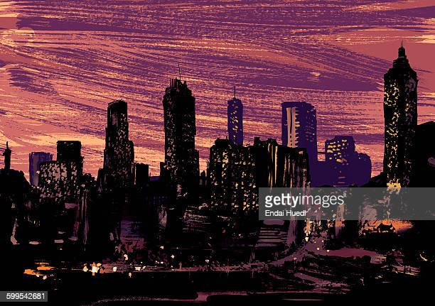 illustrative image of illuminated modern city at night - 2015 stock illustrations