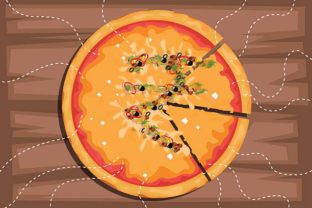 Illustrative image of Indian rupee sign on pizza with pieces representing profit share