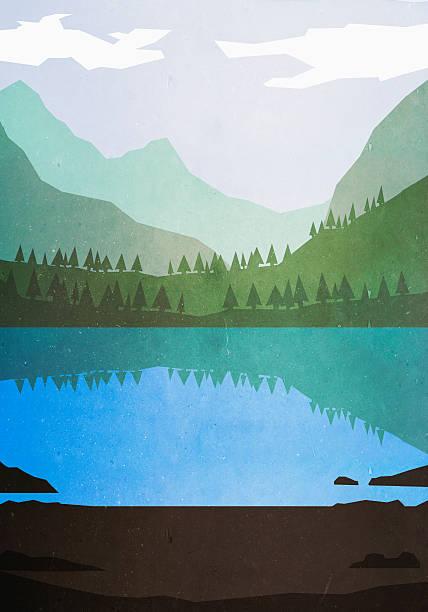 Illustrative image of lake and mountains