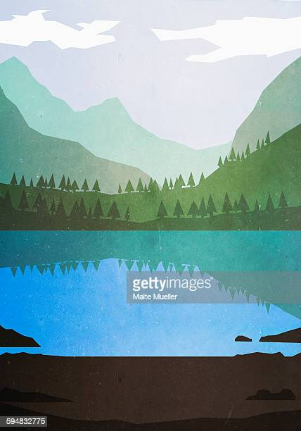 illustrative image of lake and mountains - 2015 stock illustrations