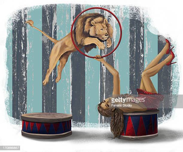 illustrative image of lion jumping from ring during circus act - legal document stock illustrations, clip art, cartoons, & icons
