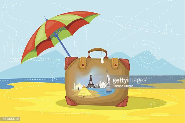 bildbanksillustrationer, clip art samt tecknat material och ikoner med illustrative image of luggage and umbrella representing insured world tour - international landmark