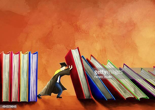 Illustrative image of male student pushing books over orange background