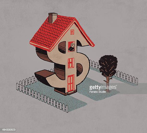 Illustrative image of man in dollar shaped house representing home loan