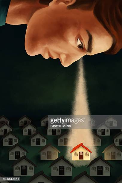 illustrative image of man keeping an eye on house representing real estate business - private property stock illustrations