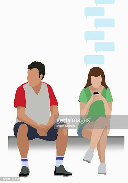 illustrative image of man sitting by woman using mobile phone - thought bubble stock illustrations